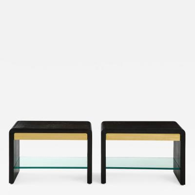 Karl Springer Rare Pair of Waterfall Side Tables in Black Lizard Leather Brass and Glass
