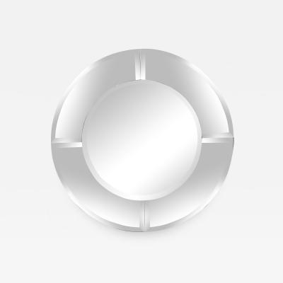 Karl Springer Round Mirror with Beveled Edges