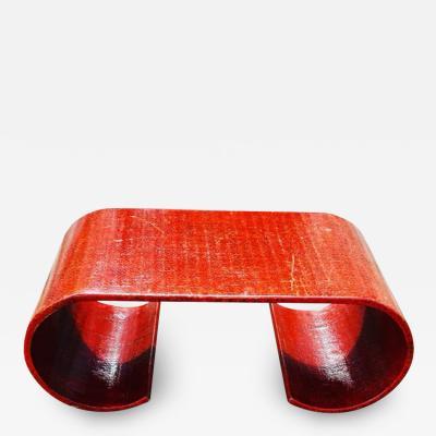 Karl Springer SCROLLED RED TEXTURED COFFEE TABLE IN THE MANNER OF KARL SPRINGER