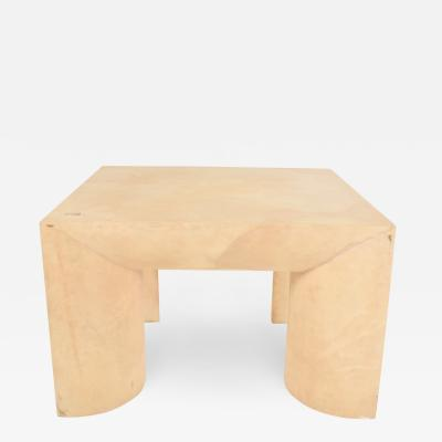 Karl Springer Sensational Square Coffee Table in Goatskin Round Robust Legs ITALY 1970s