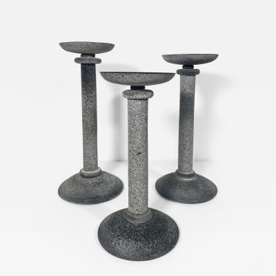 Karl Springer Set of 3 Karl Springer Midcentury Venetian Scavo Glass Candlestick by Seguso