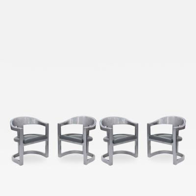 Karl Springer Set of 4 Onassis Chairs in Metallic Gray Lacquer by Karl Springer