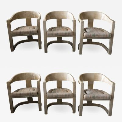 Karl Springer Set of 6 American Modern Goatskin Onassis Chairs