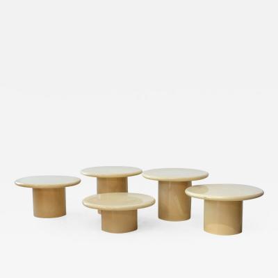 Karl Springer Set of Five Goatskin Occasional Table Style of Karl Springer
