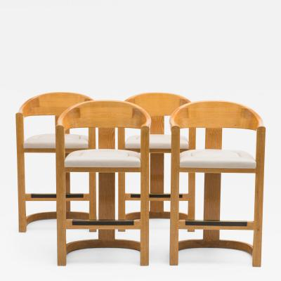 Karl Springer Set of Four Jackie O Barstools