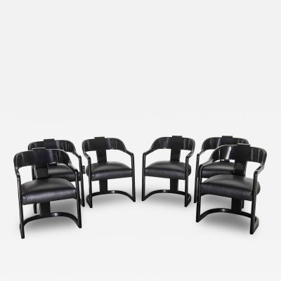 Karl Springer Set of Six American Modern Black Lacquer Ari Chairs style of Karl Springer