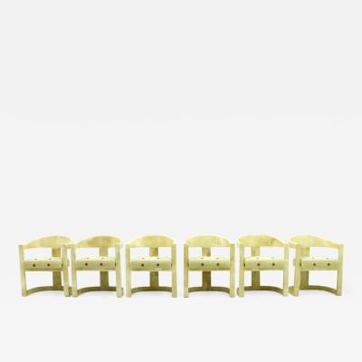 Karl Springer Set of Six Karl Springer Onassis Chairs Goatskin 1980s
