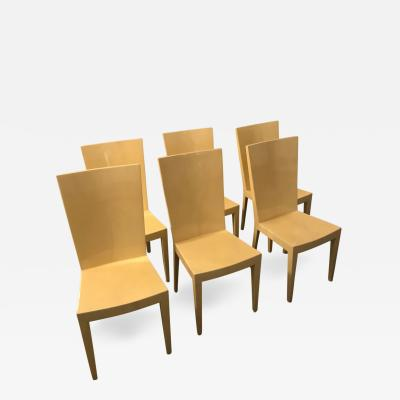 Karl Springer Set Of Six Lacquered Goat Skin Karl Springer JMF Side Dining  Chairs