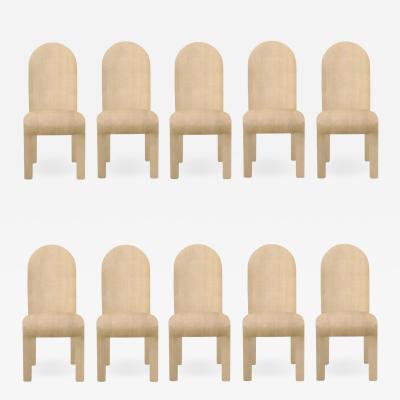 Karl Springer Set of Ten High Back Upholstered Chairs