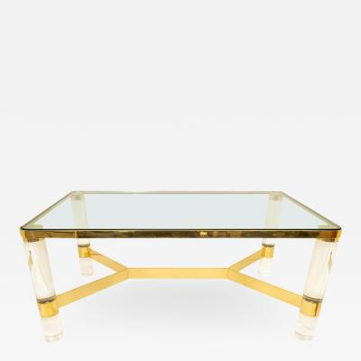 Karl Springer Signed Karl Springer Cocktail Table in Lucite and Brass