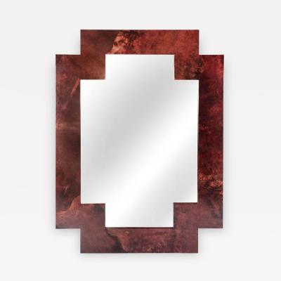 Karl Springer Striking Parchment Veneered Mirror by Karl Springer