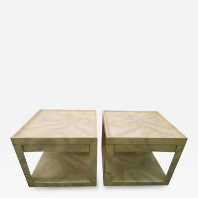 Karl Springer Stunning Pair of Karl Springer Style Faux Goatskin End Table Nightstands