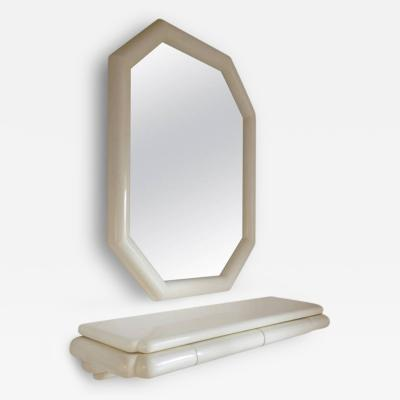 Karl Springer Style Lacquered Large Mirror with Wall Shelf 1990