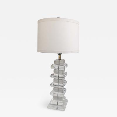 Karl Springer Style Lucite Geometrique Table Lamp