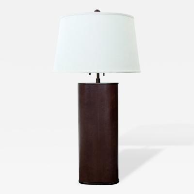 Karl Springer Table Lamp Covered in Brown Whip Snake by Karl Springer