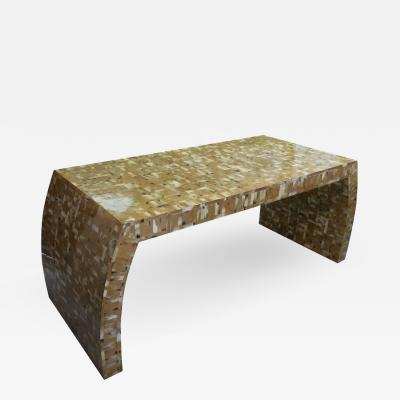 Karl Springer Tessellated Blond Horn Desk Manner of Karl Springer