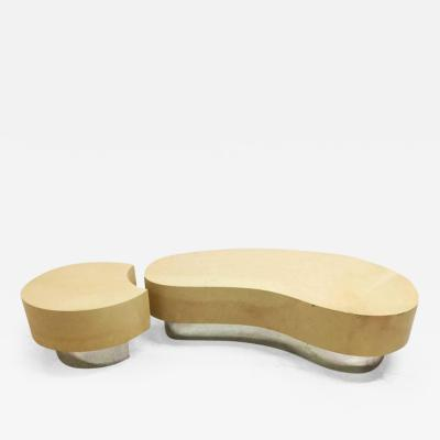 Karl Springer Two Piece Faux Goat Kidney Shaped Coffee Table in the Style of Karl Springer