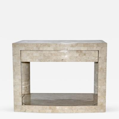 Karl Springer Two Tier Table in Tessellated Stone by Karl Springer Signed