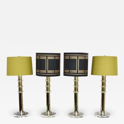 Karl Springer Vintage modern or hollywood regency lucite and brass plate lamps 2 pair