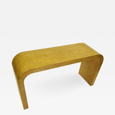 Karl Springer Waterfall Console Springer Style Exotic Herringbone 2 Tone Caning 1970s