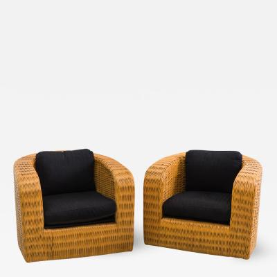 Karl Springer Wicker Pullman Chairs