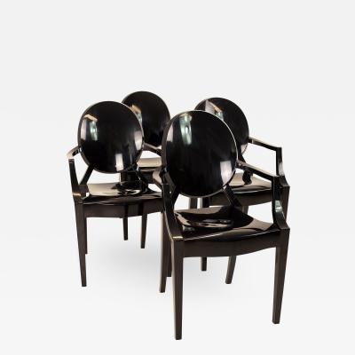 Kartell Mid Century Black Acrylic Ghost Dining Chairs Set of 4