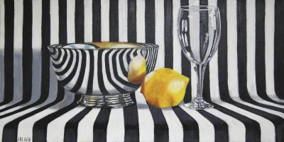 Kathi Blinn Silver Bowl And Wine Glass