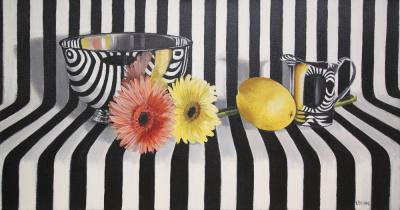 Kathi Blinn Silver Bowl Flowers And Lemon