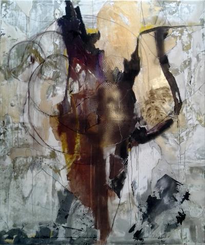 Kathi Robinson Frank Au79 Modern Abstract Mixed Media 72 x 60 Painting By Kathi Robinson Frank
