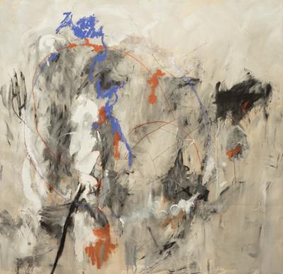 Kathi Robinson Frank Blue Magic 2020 Large Gray and Blue Abstract Painting by Kathi Robinson Frank