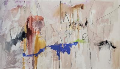Kathi Robinson Frank Down By The Creek 2020 Abstract Oil Diptych Painting by Kathi Robinson Frank