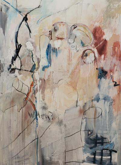 Kathi Robinson Frank Gathering 2021 Large Framed Mixed Media Abstract Oil by Kathi Robinson Frank