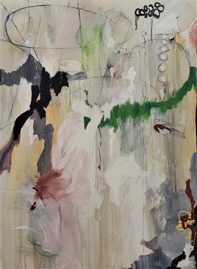 Kathi Robinson Frank Lullaby of Birdland 2021 Large Framed Abstract Oil by Kathi Robinson Frank