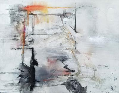 Kathi Robinson Frank Reflections A Large Framed Abstract Oil On Canvas by Kathi Robinson Frank