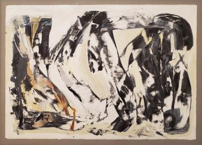 Kathi Robinson Frank Release Black White Abstract Oil Painting on Paper By Kathi Robinson Frank