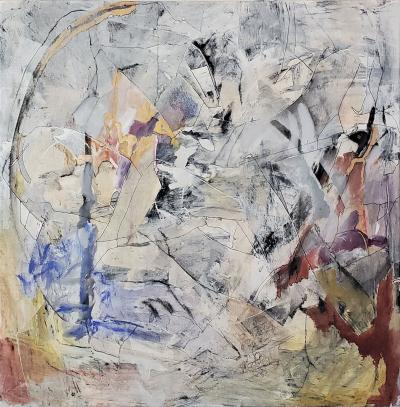 Kathi Robinson Frank Topography 3 2020 Large Framed Abstract Oil Painting by Kathi Robinson Frank