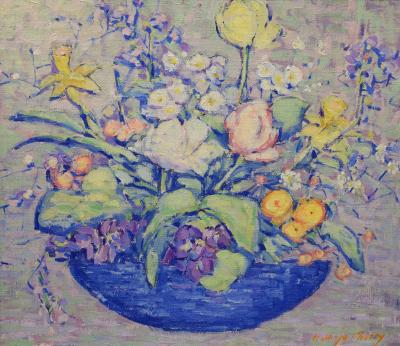 Kathryn E Bard Cherry Bouquet in Blue Vase