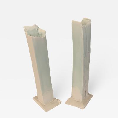 Kato Tsubusa Pair of Contemporary Porcelain Vases With Celadon Glaze by Kato Tsubusa