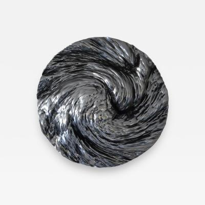 Katz Studio Ocean Panel Circle Wall Sculpture Dark Chrome