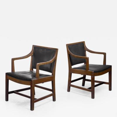 Kay Fisker Pair of Kay Fisker attributed armchairs in dark green leather