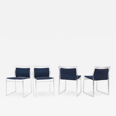 Kazuhide Takahama Set of Four Steel and Cotton Chairs by Kazuhide Takahama