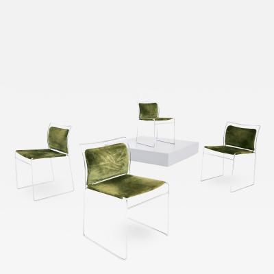 Kazuhide Takahama Set of four chair in green velvet by TAKAHAMA for Gavina Model Tulu 1969