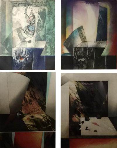 Kazuko Watanabe Set of 4 Signed Abstract Intaglio Prints by Kazuko Watanabe Framed