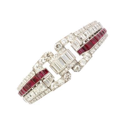 Keith Drayson Art Deco Ruby and Diamond Bracelet by Drayson