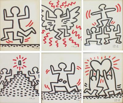 Keith Haring Complete Suite of Six Keith Haring Offset Lithographs Bayer Suite 1982