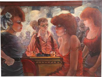 Keith Keller Bartender and the Ladies Oil on Canvas by Keith Keller