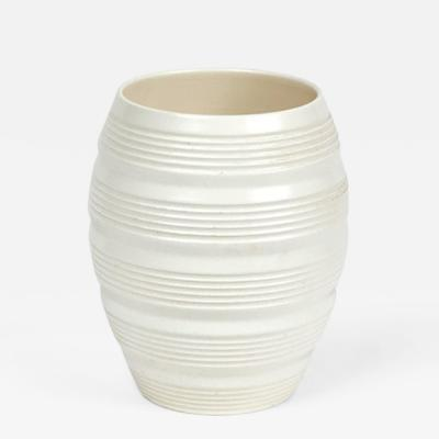 Keith Murray A White Moonstone Barrel Vase by Keith Murray from Wedgwood