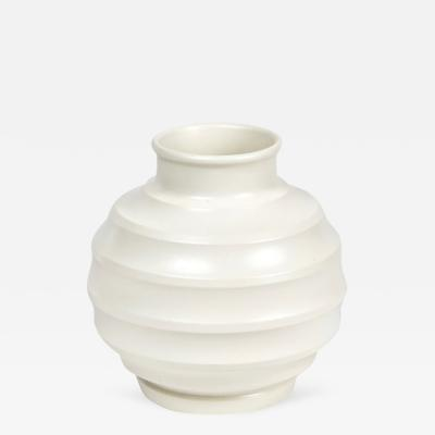 Keith Murray A White Moonstone Football Vase by Keith Murray from Wedgwood