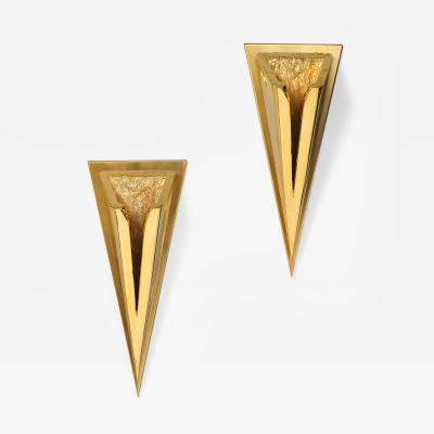 Kelly Kiefer Pair of Polished 24k Gold Plated Sconces by Kelly Kiefer