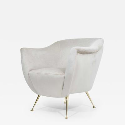 Kelly Wearstler Italian Style Chair in Light Taupe Holly Hunt Silk Camel with Brass Legs